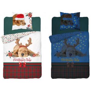 Svietiace vianočné posteľné obliečky s motívom psíka