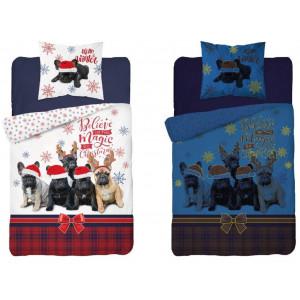 Svietiace vianočné posteľné obliečky s motívom vianočných psíkov