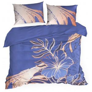 Modré posteľné obliečky s motívom kvetov