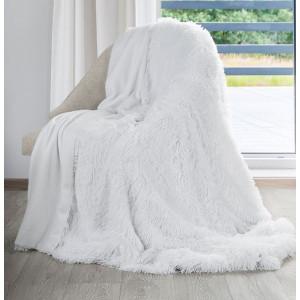 Snehovobiela chlpatá deka