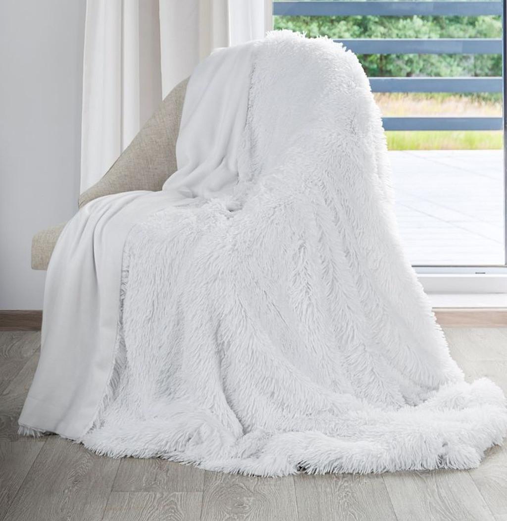 Snehovobiela chlpatá deka Šírka: 70 cm | Dĺžka: 160 cm