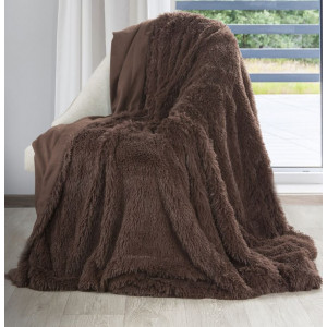 Čokoládovohnedá chlpatá deka