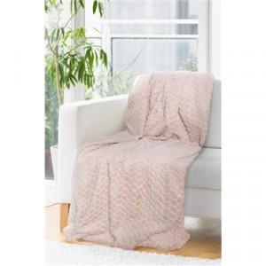 Kvalitná hrubá deka prehoz v púdrovo ružovej farbe