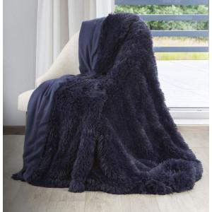 Tmavomodrá chlpatá deka