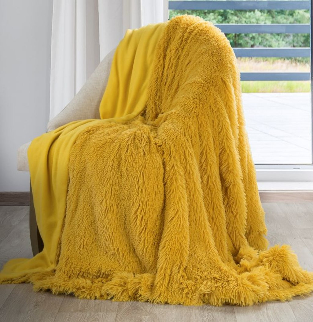 DomTextilu Žltá chlpatá deka 70 x 160 cm