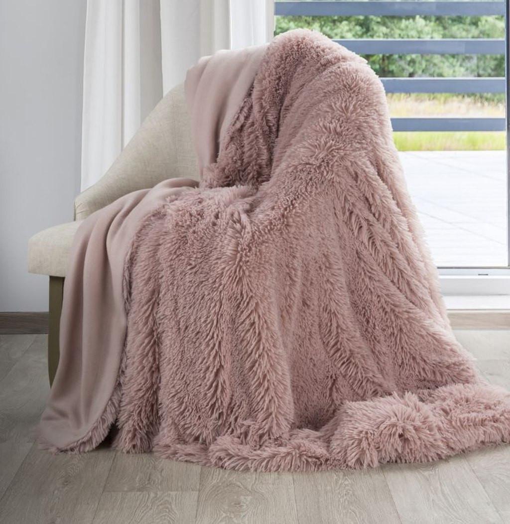 Staroružová chlpatá deka Šírka: 70 cm | Dĺžka: 160 cm