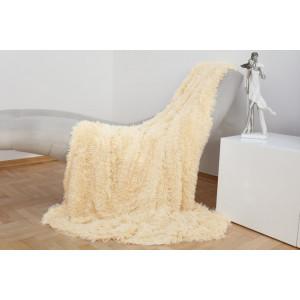 Jemná chlpatá deka krémovej farby