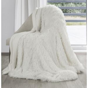 Jemná chlpatá deka krémovo bielej farby
