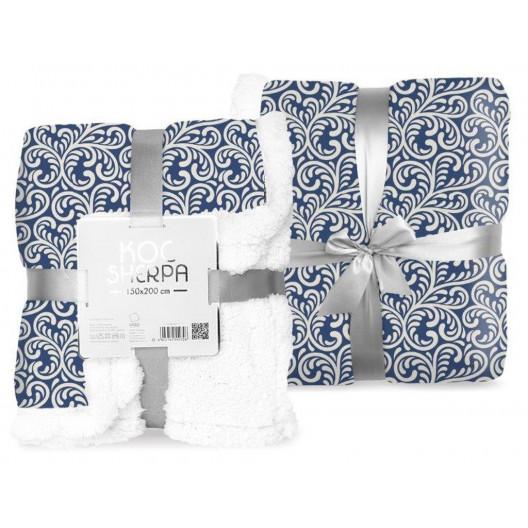 Dekoratívna deka s barančekom v modrej farbe s ornamentmi