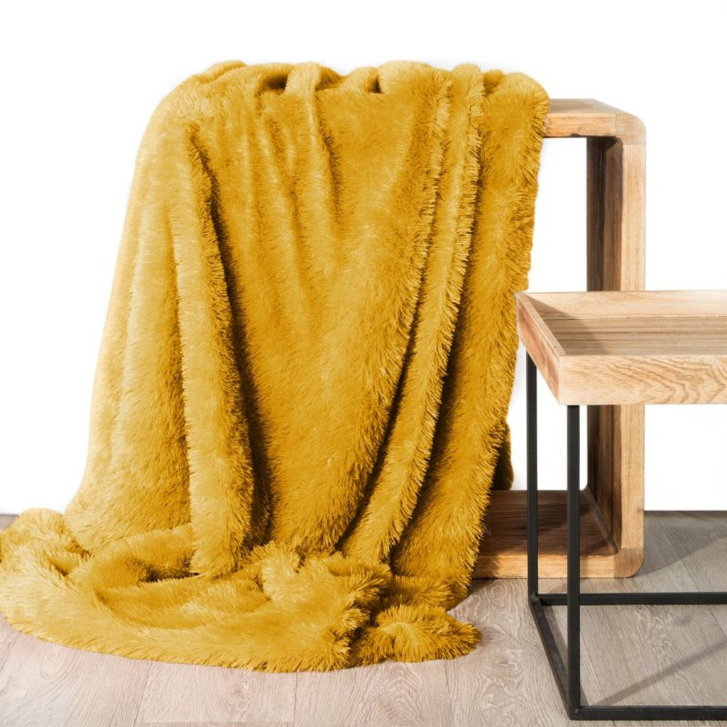 DomTextilu Hebká chlpatá deka horčicovo žltej farby 200 x 220 cm