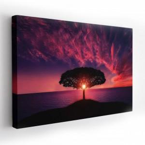 Kvalitný obraz na plátne s motívom stromu pri západe slnka