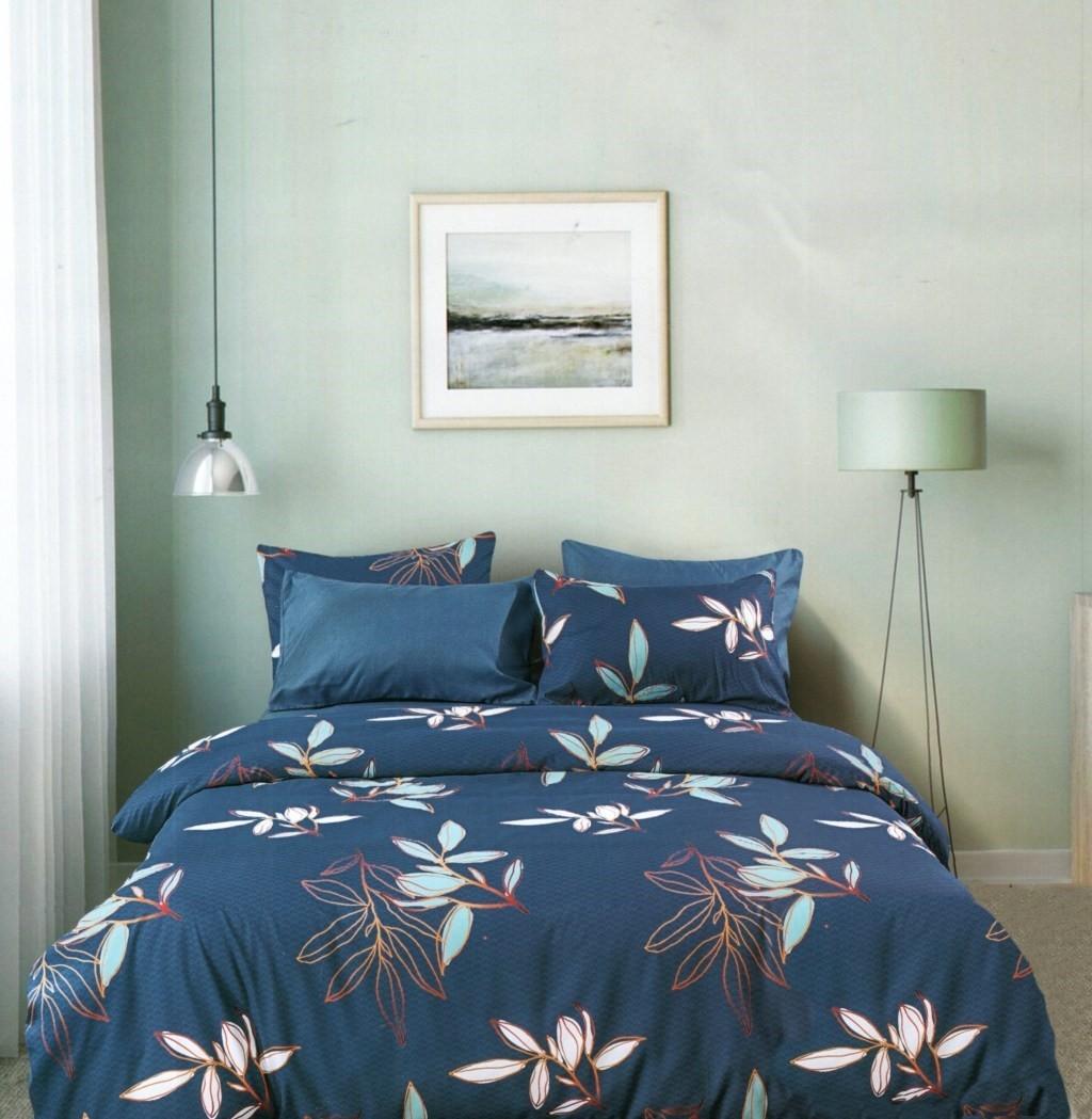 DomTextilu Modré obliečky s motívom lístia 140x200 cm 28741-155160