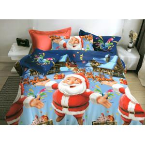 Vianočné posteľné obliečky s motívom Santu a sobov