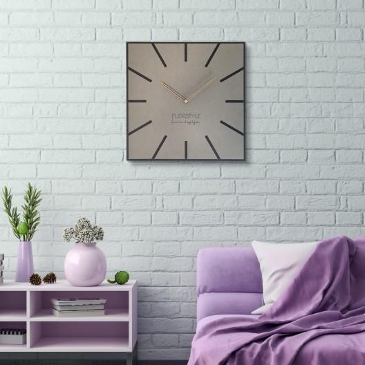 Štýlové hranaté hodiny svetlosivej farbyŠtýlové hranaté hodiny svetlosivej farby