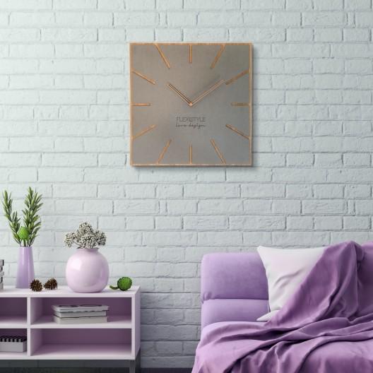 Štýlové hranaté hodiny svetlošedej farby