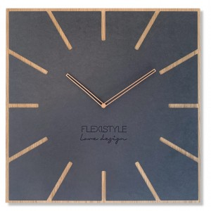 Štýlové hranaté hodiny antracitovej farby v kombinácii s prírodnou