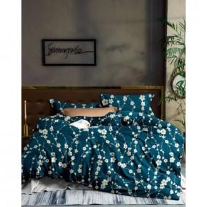 Tmavozelené posteľné obliečky s potlačou kvetov