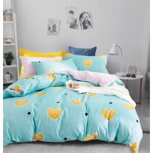 Tyrkysové posteľné obliečky so srdiečkami
