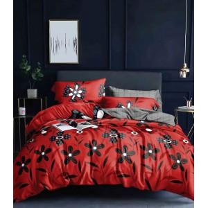 Červené obojstranné posteľné obliečky s kvetinovou potlačou