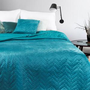 Žiarivý tyrkysový prehoz na posteľ v obojstrannom prevedení