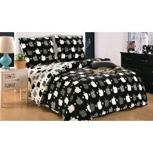 Čiernobiele obojstranné posteľné obliečky s motívom apple