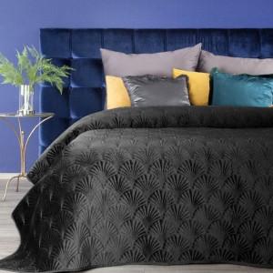 Luxusný čierny zamatový prehoz na manželskú posteľ