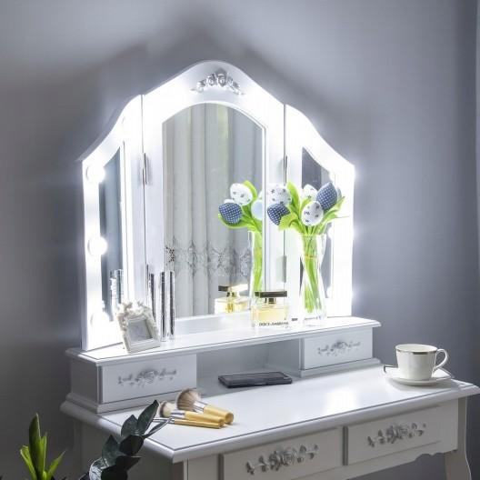 Moderný toaletný stolík s LED osvetlením v bielej farbe