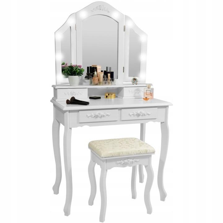 DomTextilu Moderný toaletný stolík s LED osvetlením v bielej farbe 29361 Biela