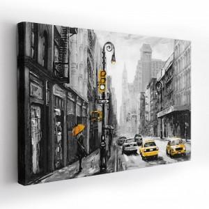 Moderný obraz na stenu na plátne s motívom ulice