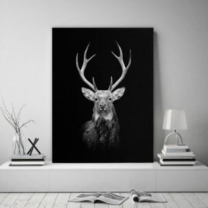 Čierny obraz na stenu so zveracím motívom jeleňa
