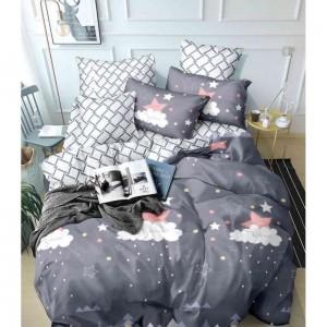 Obojstranné šedé posteľné obliečky s detskou nočnou oblohou