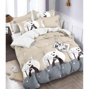 Obojstranné bežové posteľné obliečky s mačkami