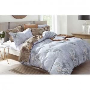 Obojstranné šedé romantické posteľné oblečenie s kvetmi