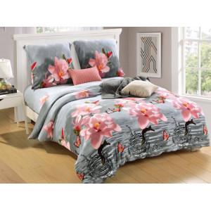 Sivoružové posteľné obliečky s potlačou kvetín
