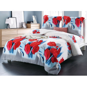 Modročervené posteľné obliečky s motívom kvetov