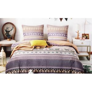 Krásne posteľné obliečky s nórskym vzorom fialovej farby