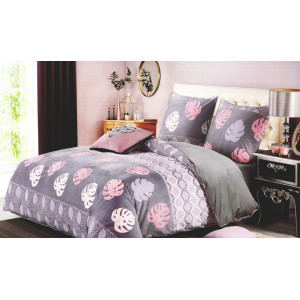 Fialové posteľné obliečky s motívom listov