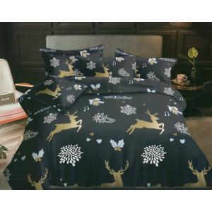 Tmavomodré vianočné posteľné obliečky s motívom sobov