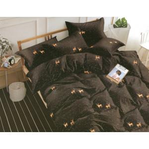Čierne posteľné obliečky s motívom sobov béžovej farby