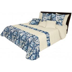 Obojstranný prehoz v modrej farbe s kvetinovou potlačou