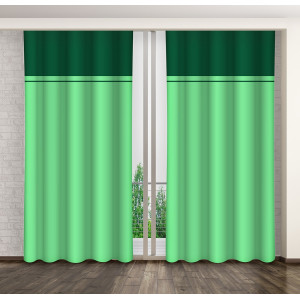 Zelené dekoračné závesy na okno s riasiacou páskou