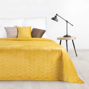 Kvalitný obojstranný prehoz na posteľ v žiarivej žltej farbe