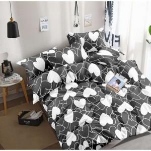 Šedo bielé posteľné obliečky s motívom sŕdc
