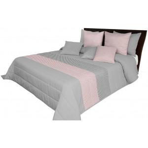 Sivo ružový prehoz na postel s designovými pásmi