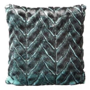 Chlpatá dekoráčná obliečka na vankúš modro zelenej farby