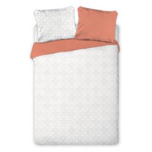 Obojstranné posteľné obliečky tehlovej farby s motívom kvetín