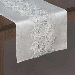 Svetlo sivý behúň na stôl s ozdobnou čipkou