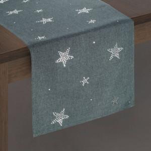 Vianočné prestieranie štóla v sivej farbe s hviezdičkami