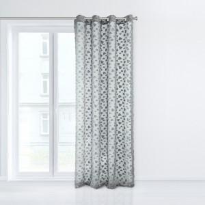 Štýlová záclona v sivej farbe s geometrickým ornamentom 140 x 250 cm