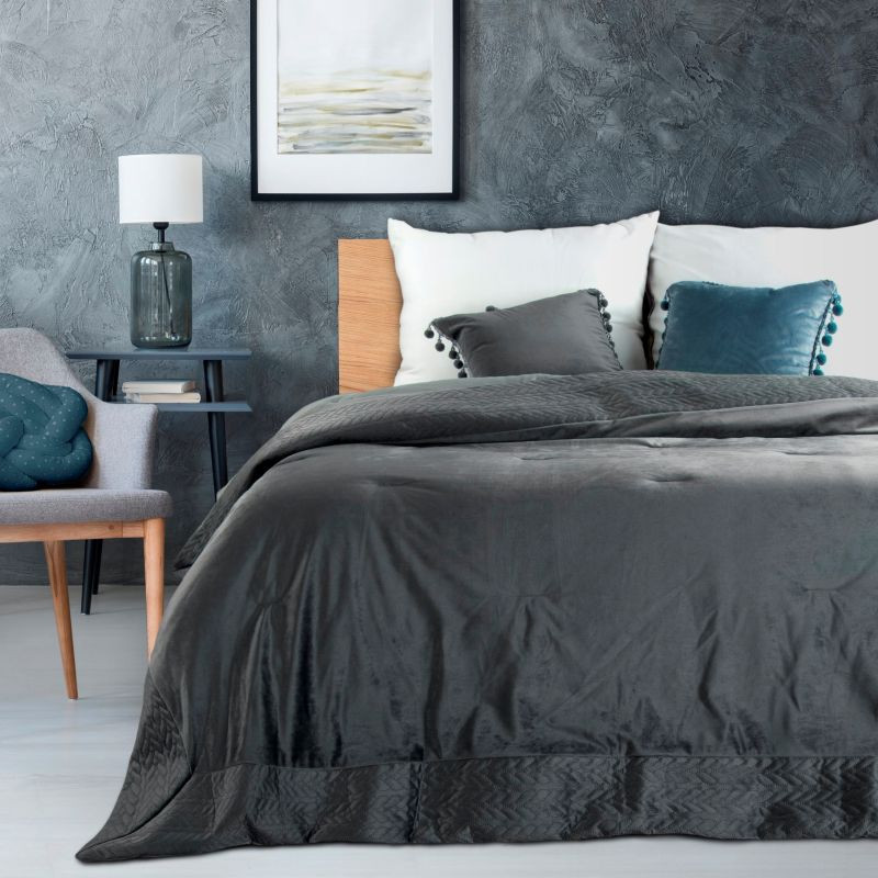DomTextilu Štýlový tmavo sivý prešívaný prehoz na manželskú posteľ Šírka: 220 cm   Dĺžka: 240 cm 32401-162612